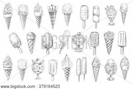 Ice Cream Cone, Sundae Dessert And Stick Vector Sketches, Hand Drawn Food. Ice Cream Waffle Cones Wi