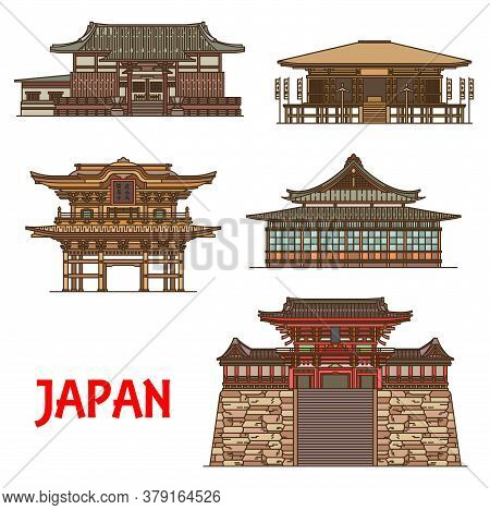 Japanese Travel Landmarks Thin Line Vector Of Buddhism Religion Buildings. Buddhist Temples Of Tokei