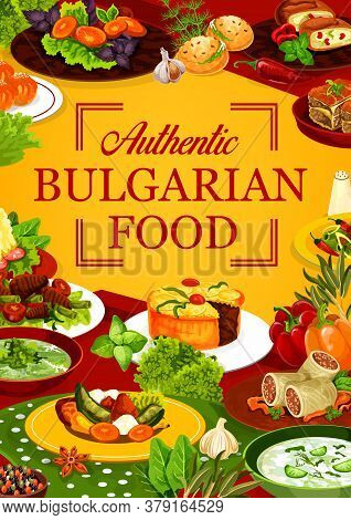 Bulgarian Cuisine Food Of Vector Meat Dishes With Vegetables And Desserts. Yogurt And Spinach Soups,