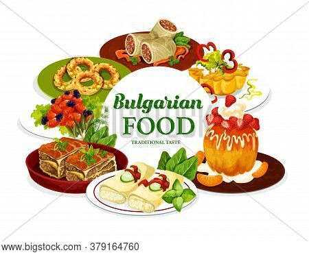 Bulgarian Cuisine Meat Food With Fruit Dessert Dishes, Vector Meal. Beef Stuffed Cabbage Rolls, Bake