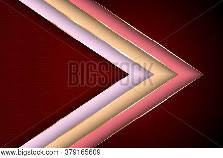 Polygonal Arrow With Gold Triangle Edge Lines Banner Vector Design. Premium Poster Background Templa