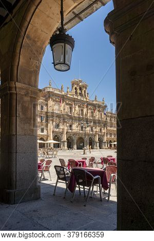 Salamanca, Spain, July 2020 - Plaza Mayor In The City Of Salamanca, Spain