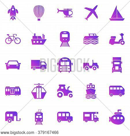 Vehicle Gradient Icons On White Background, Stock Vector