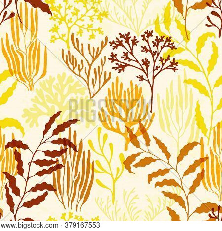 Coral Reef Seamless Pattern. Kelp Laminaria Seaweed Algae Background. Underwater Plants Textile Prin
