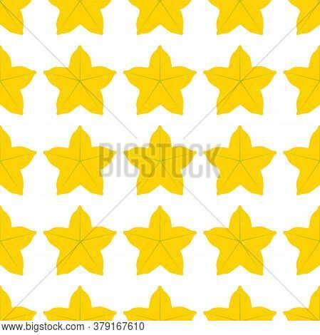 Carambola Fruit. Seamless Vector Patterns On White Background