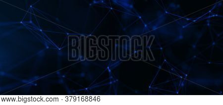 Abstract Futuristic - Technology With Polygonal Shapes On Dark Blue Background. Design Digital Techn