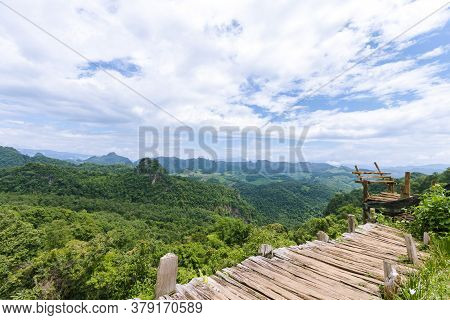Beautiful Natural Scenery With Mountains, Sky And Clouds At Ban Cha Bo In Mae Hong Son Province In T