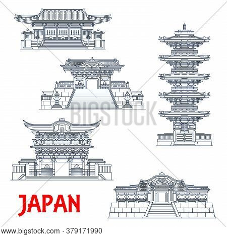 Japanese Travel Landmarks With Vector Thin Line Shrines And Temples Of Nikko. Ancient Futarasan And