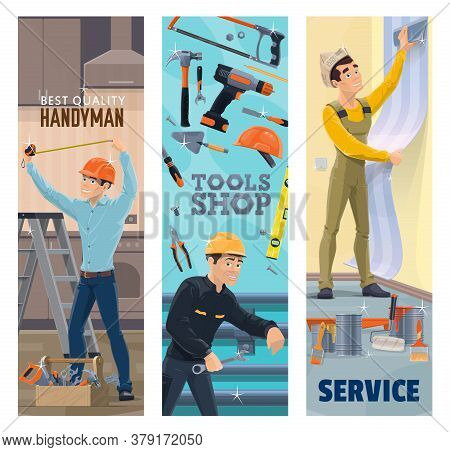 Handyman, Plumber, Painter And Decorator With Tools Vector Banners. Construction, Plumbing, House Re