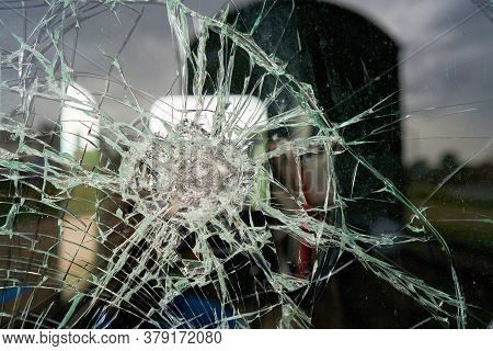 Destroyed Glass Of The Window Pane Of A Railway Wagon