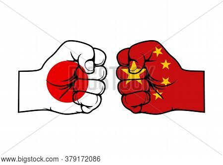 Japan And China Conflict, Vector Fists With Flags Of Asian Countries. Trade War, Military Conflict,