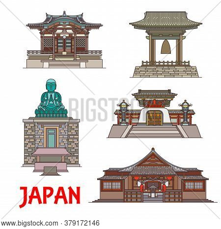 Travel Landmarks Of Japan Vector Thin Line. Japanese Building And Statue, Buddhist Temples Shitenno-