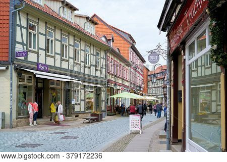 Wernigerode, Germany - May 23, 2020: Shopping Street With Tourists In The Historic Old Town Of Werni