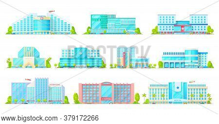 Hospital, Medical Clinic And Ambulatory Center Vector Icons With Buildings Of Medicine And Healthcar