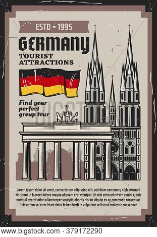 German Travel And Tourism Vector Design With Architecture Travel Landmarks Of Germany. Flag, Branden