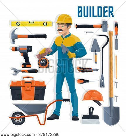 Builder With Construction And House Repair Work Tools Cartoon Vector. Bricklayer Or Mason Worker Wit