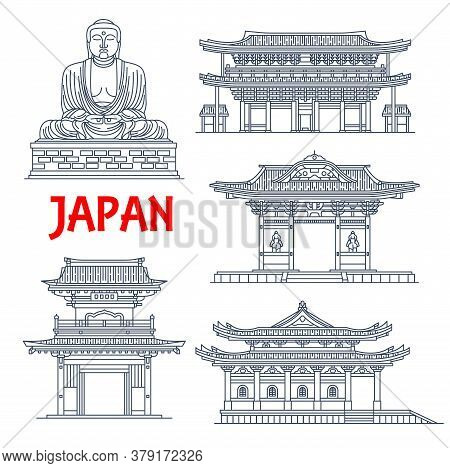 Japanese Travel Landmarks With Vector Thin Line Pagoda Buildings And Statue. Buddhist Temple Hase-de