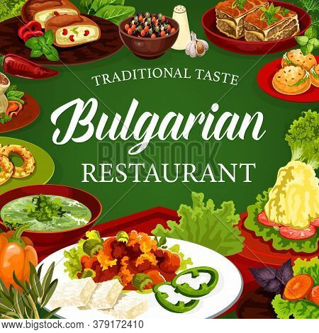 Bulgarian Cuisine Vector Dishes Of Meat And Vegetable Food With Dessert. Bryndza With Tomato Sauce L
