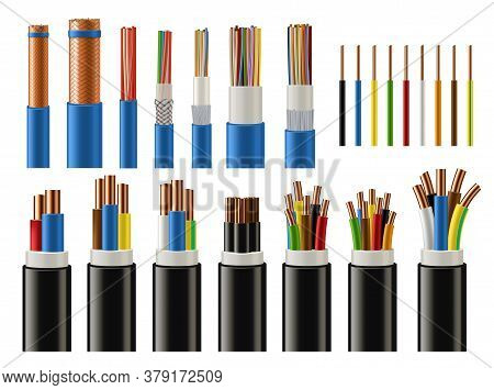 Cables And Wires Realistic Vector Of Electrical Power, Network, Television And Telephone. Energy Cab