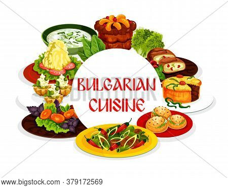 Bulgarian Cuisine Vector Food, Vegetable Salad, Chilli Pepper Meat Stew, Yogurt Soup Tarator And Fru