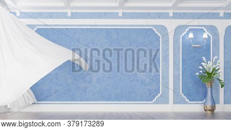 3d Render Of Living Room With Blue Stucco, White Curtain And Vase