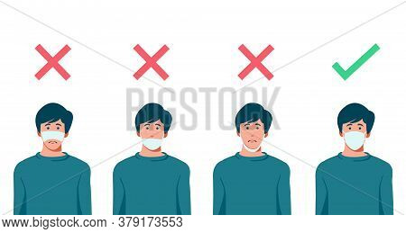 Set Of Men Wearing Medical Mask In The Wrong Way With Red Cross Symbol, One Men Wearing Medical Mask
