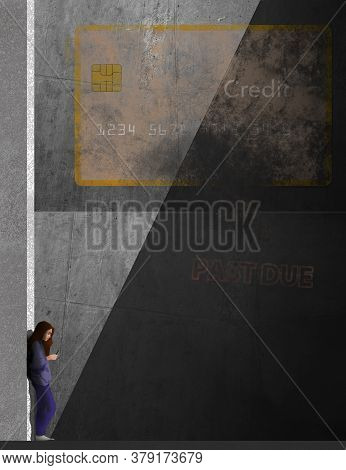 A  Girl Looks At Her Phone In An Urban Setting With A Faded Credit Card Painted On The Concrete Wall