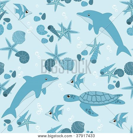 Sea seamless background with marine life, vector illustration poster
