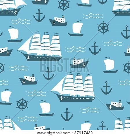 Seamless background with sailing ship
