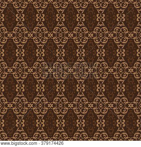 Unique Motifs Design On Kawung Batik With Simple Dark Brown Color Design.