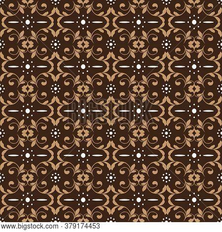 Beautiful Flower Pattern Design On Parang Batik With Modern Brown Color.