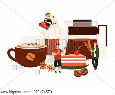 Coffee Poster With Cartoon People Among Giant Drink Cup, Glass And Pot With Hot Beverage. Cafe Meal