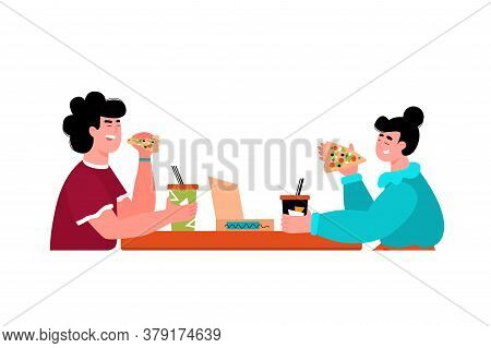 Happy Couple Eating Pizza At Cafe - Isolated Vector Illustration Of Man And Woman With Fast Food And