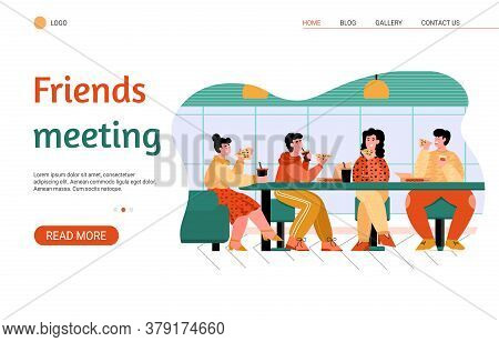 Friends Eating At Pizza Parlor - Website Banner With Cartoon Group Of People At Cafe Table Having Fa