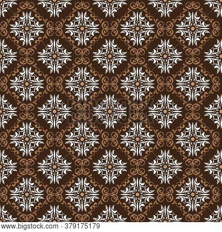 Beautiful Flower Pattern In Javanese Batik With Simple Dark Brown Color Design.