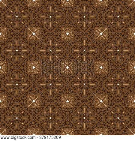 Tradisional Batik Motifs With Very Distinctive Flower Patterns And Dark Brown Color Design.