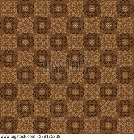 Simple Motifs In Parang Batik Style With Brown Background Design.