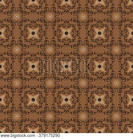 Elegant Batik Flower Patterns As A Traditional Java Clothes With Brown Color Design.