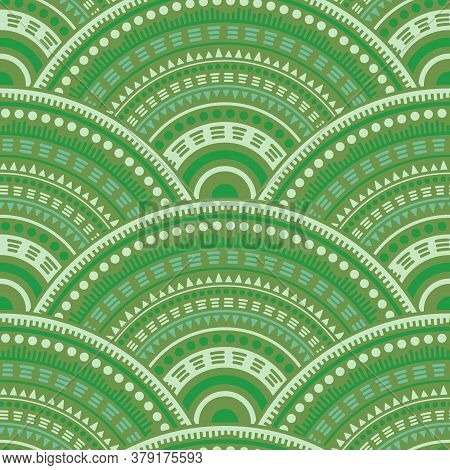 African Overlapping Circles Fabric Print Vector Seamless Pattern. Ethnic Motifs Suzani Repeating Sca