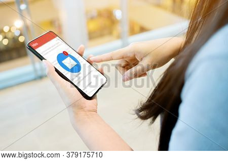 Hand Of Female Checking Application Email On Smart Phone. Notification New Messages On Mobile Smartp
