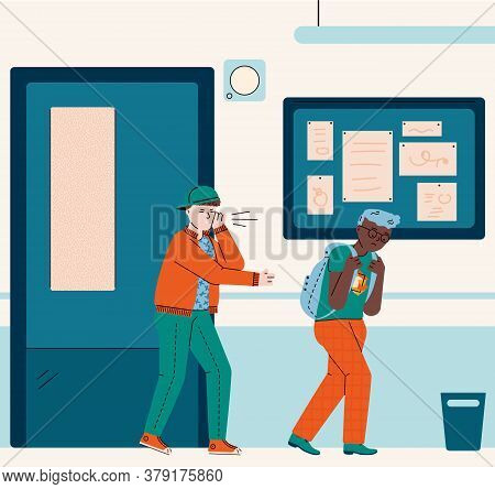 School Bully Bullying Sad Victim - Cartoon Boys In Corridor Interior. Mean Child Harassing And Teasi