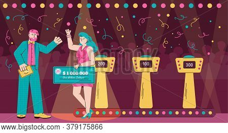 Quiz Game Show Host And Winner Holding Money Prize Check - Cartoon Banner With People Celebrating Vi