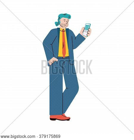 Cartoon Character Of Businessman Or Man Office Worker In Casual Businesslike Outfit Standing With Sm