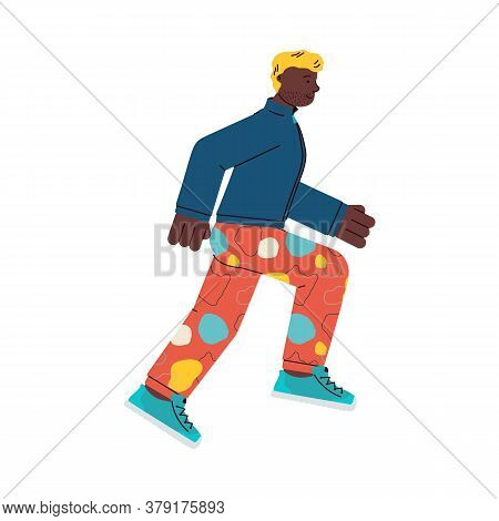 Young Fashionable Man Cartoon Character Running Forward, Flat Vector Illustration Isolated On White