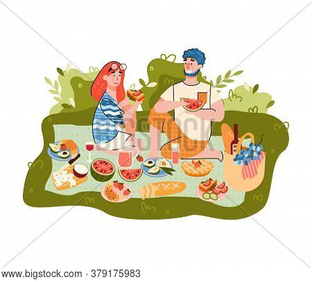 Summer Picnic With Cartoon Characters Of Man And Woman Enjoying Conversation And Eating Outdoor, Fla