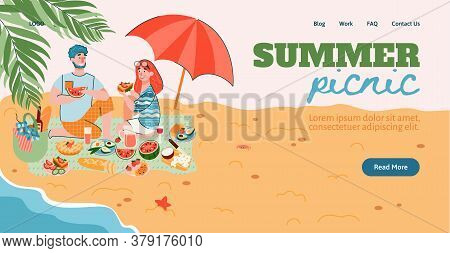Summer Picnic Website Page Mockup With Young Couple Having Outdoor Meal On Seacoast, Flat Cartoon Ve