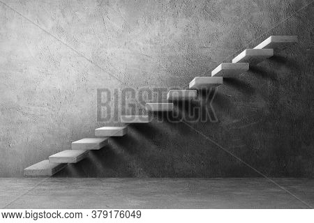Side View Architecture Of Concrete Or Bare Mortar Staircase On Plaster Wall Texture Background.
