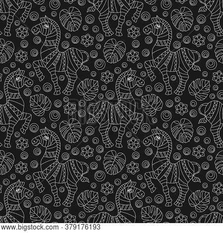 Seamless Pattern With Zebras,   Animals, Flowers And Leave,light Contour Images On A Dark Background