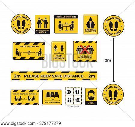 Set Warning Signs For Social Distancing Coronavirus Pandemic Protection Measures Concept Keep 2 Mete