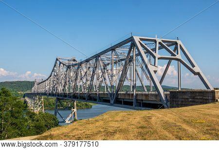 Rip Van Winkle Bridge Spanning The Hudson River Between Catskill, Ny And Hudson Ny